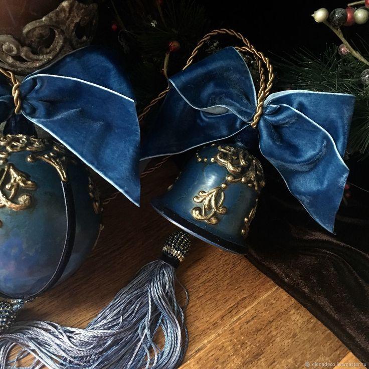 Купить «ЗОЛОТО НА СИНЕМ» Интерьерные новогодние игрушки - сердце, Авторский дизайн, шар, колокольчик