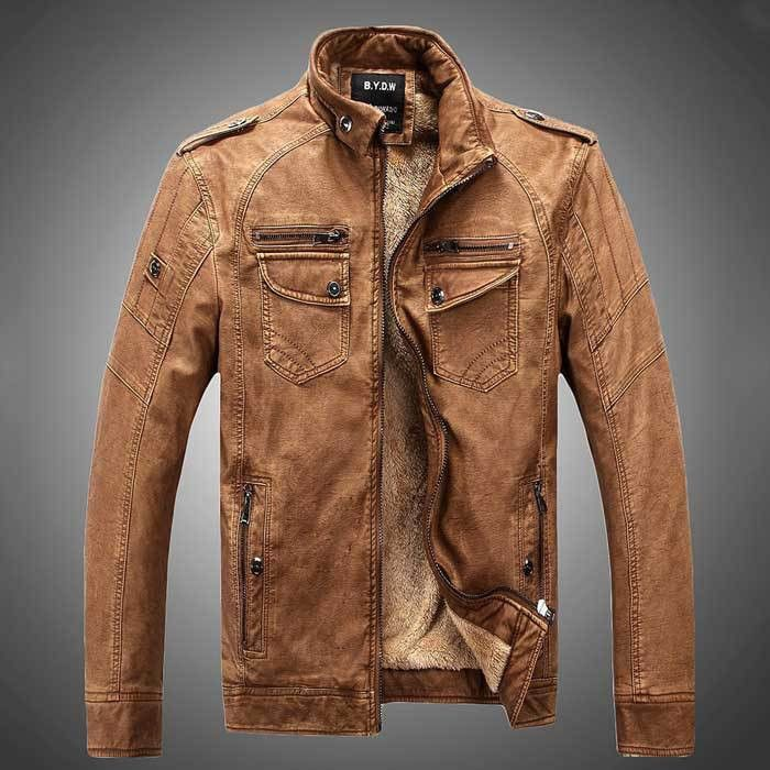 Men Leather Jackets, Winter Leather Jacket With Fur, Brown, Blue