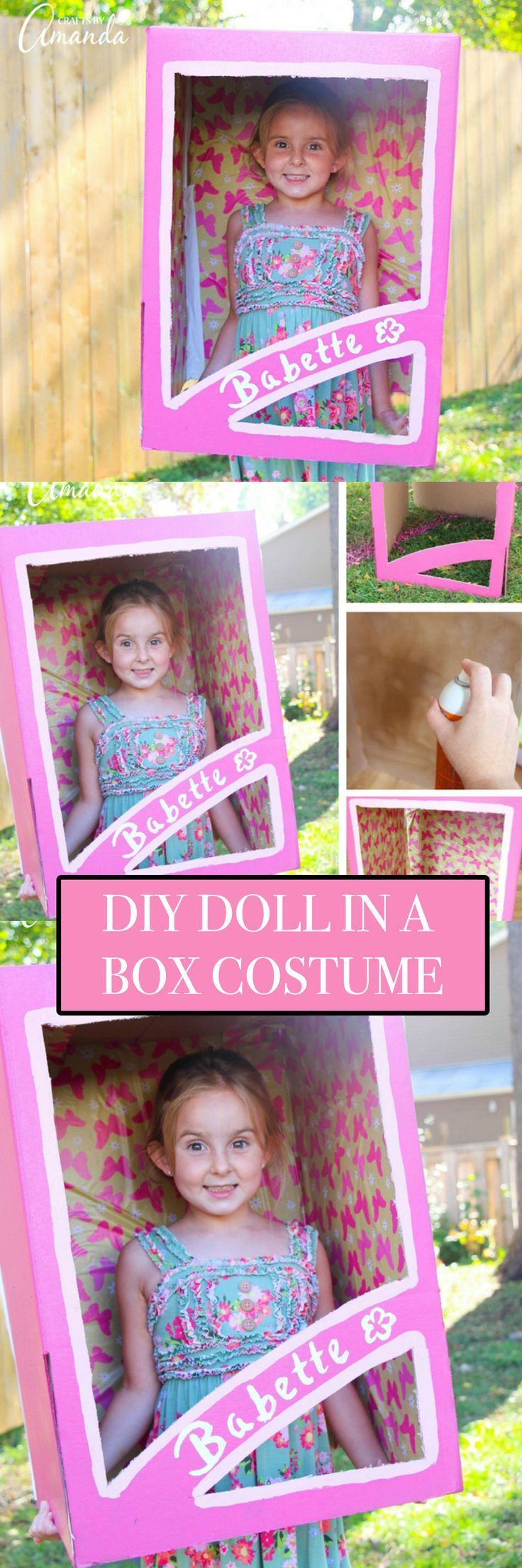 Make yourself or your little girl a doll in a box costume that's perfect for Halloween or great to use as a photo prop for a little girl's birthday party!
