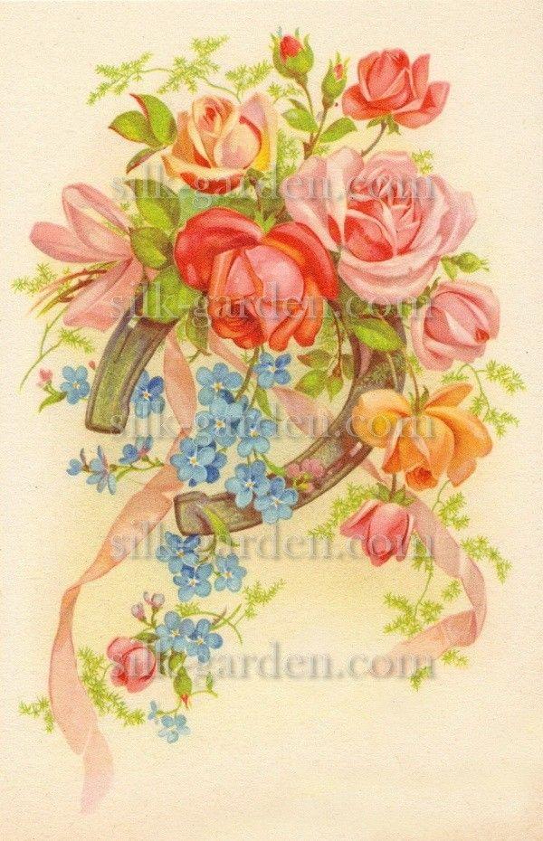 Принт Маленький букет РО-Б-70 (ткань с рисунком) для вышивания лентами - купить по низкой цене в магазине Шелковый сад