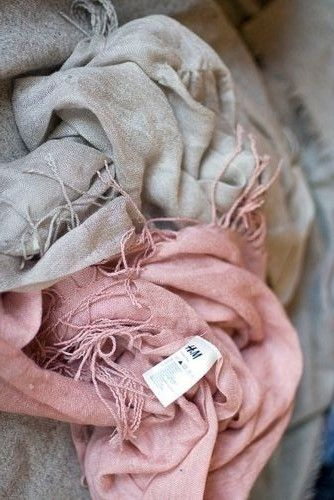 Grey and pink linen scarves - Guest Departure Gifts. Wrapped with Cream Ribbon and Tag with Birthday Info