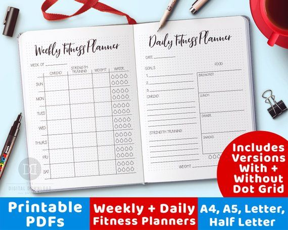 2 Fitness Planner Printables, Daily Fitness Planner, Weekly Fitness Planner, Bullet Journal Fitness