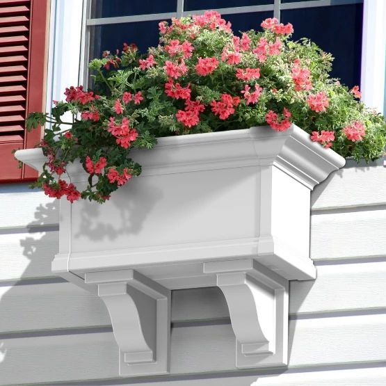 Mayne Yorkshire Decorative Window Box Brackets - Set of 2 - White