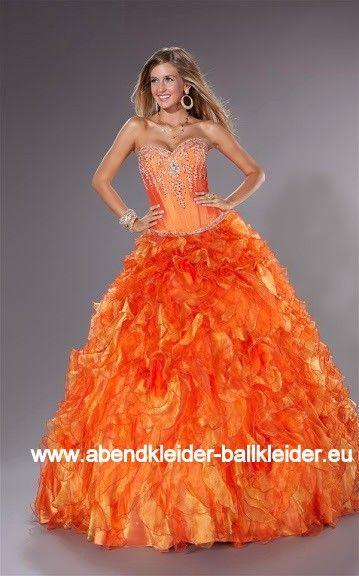Luxus Abendkleid Ballkleid Brautkleid in Orange