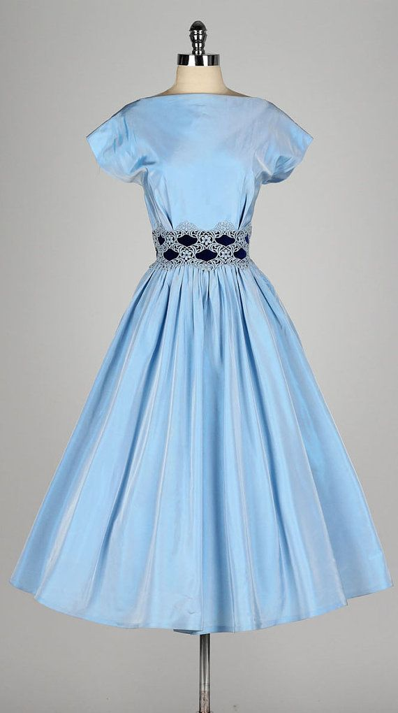 vintage 1950s dress . iridescent blue taffeta by millstreetvintage  Why don't people still wear these things!?!?