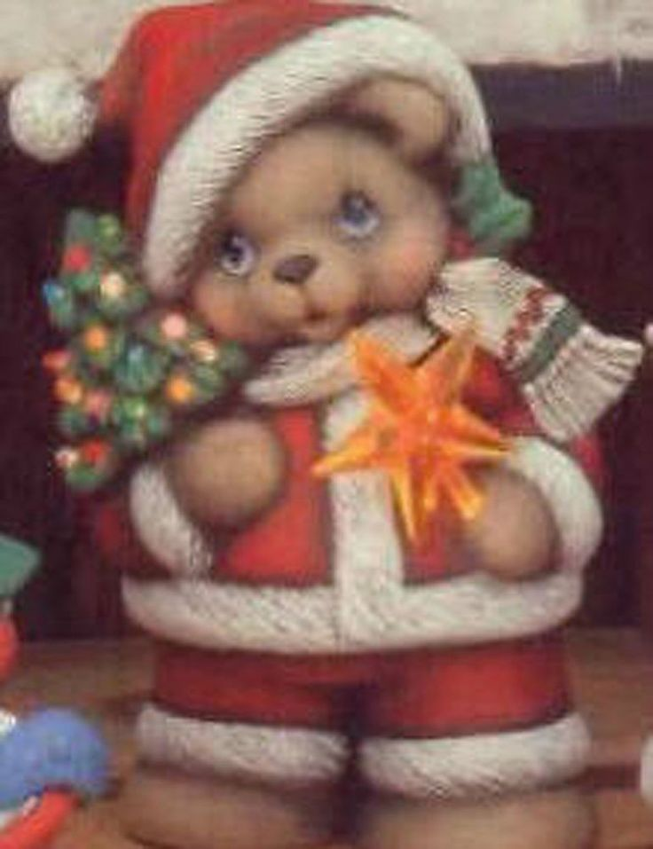 Ceramic Bisque Ready to Paint Santa Bear clipin light, Star and pin lights incl