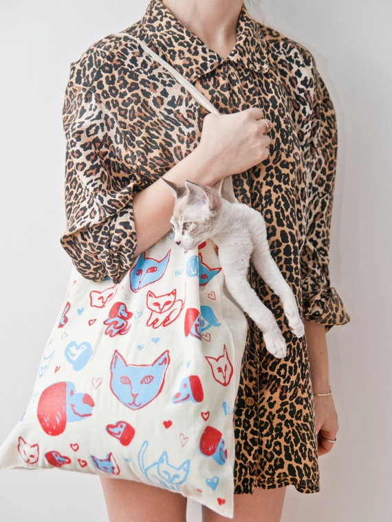 puppy kitty love tote by leah goren and john garcia