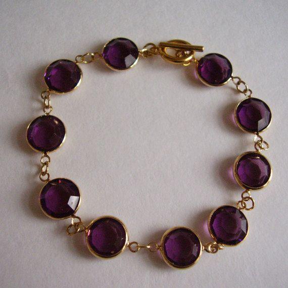 Austrian Bezel Glass Bracelet Purple Amethyst by Vintage0Sparklers