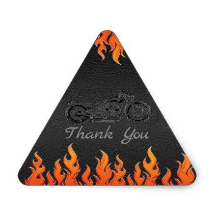 Black Leather Orange Flames Motorcycle Biker Party Triangle Sticker - baby gifts giftidea diy unique cute