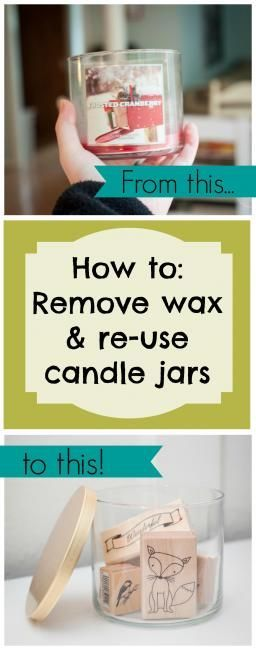 Great tip for getting that last inch of wax out of candle jars  http://www.dwellbeautiful.com/reuse-candle-jars-and-wax/