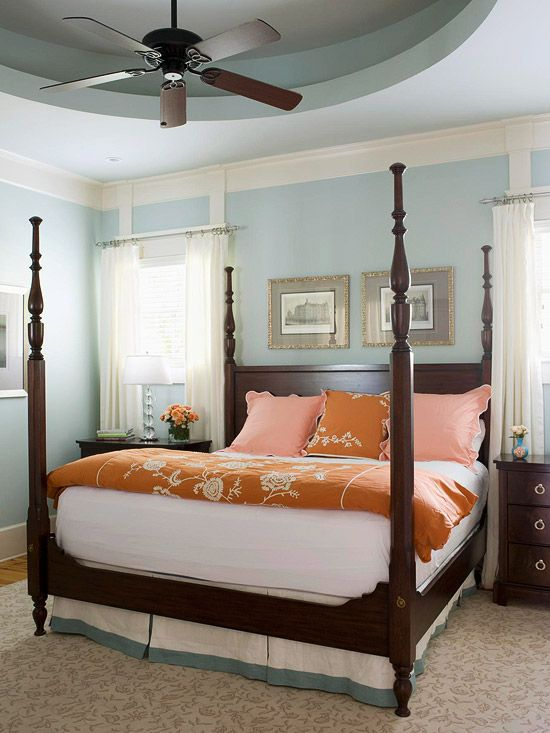 Pop of orange in this blue and brown bedroom makes me want to add some orange to one of my blue and brown rooms.