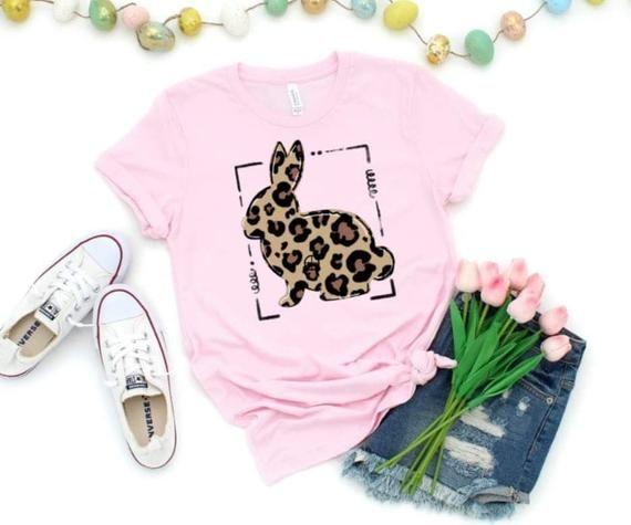 Easter Shirt for Baby Easter Shirt for Girl Kids Easter Shirt Leopard Bunny Shirt