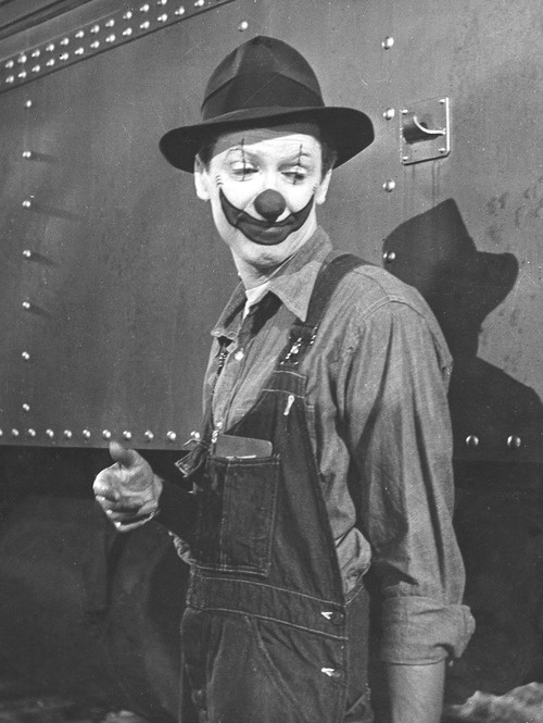 James Stewart, as Buttons the clown, The Greatest Show on ...
