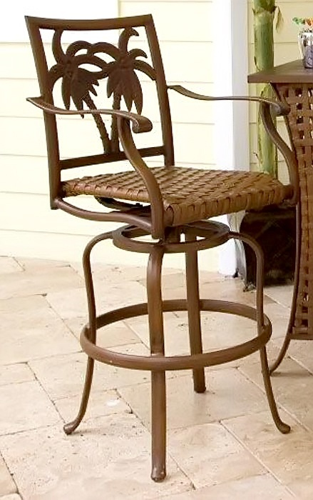 Coco Palm Patio Swivel Bar Stool W Dark Bronze Tone