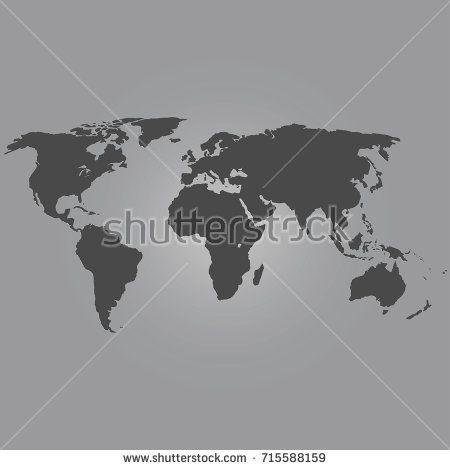 Black color flat World map vector