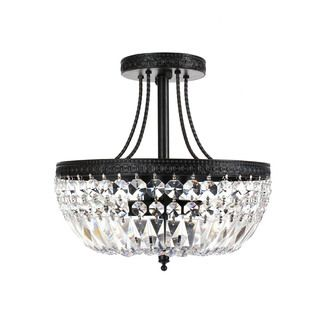 Antonia 4-light Crystal Semi-flush Mount Chandelier with Antique Bronze Iron Shade | Overstock.com Shopping - The Best Deals on Flush Mounts