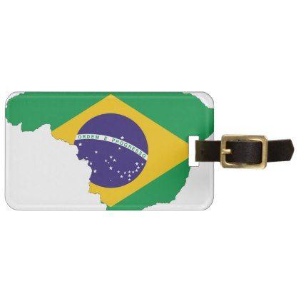 #Brazil Flag Map Symbol Brazilian Country Bag Tag - #luggage #tags