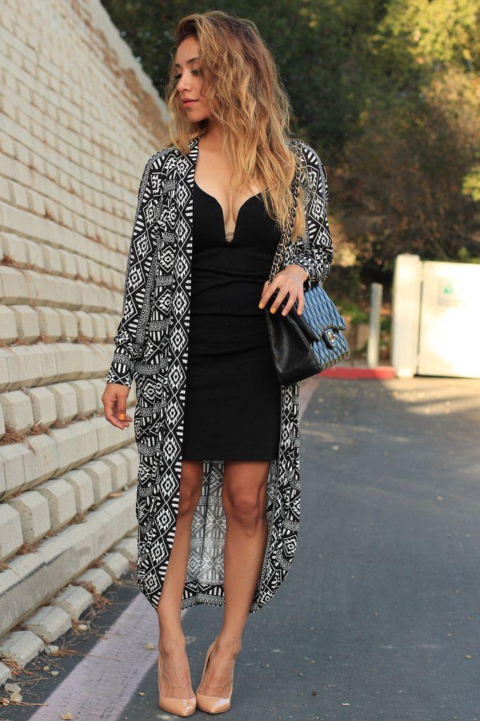 Kimono over black dress