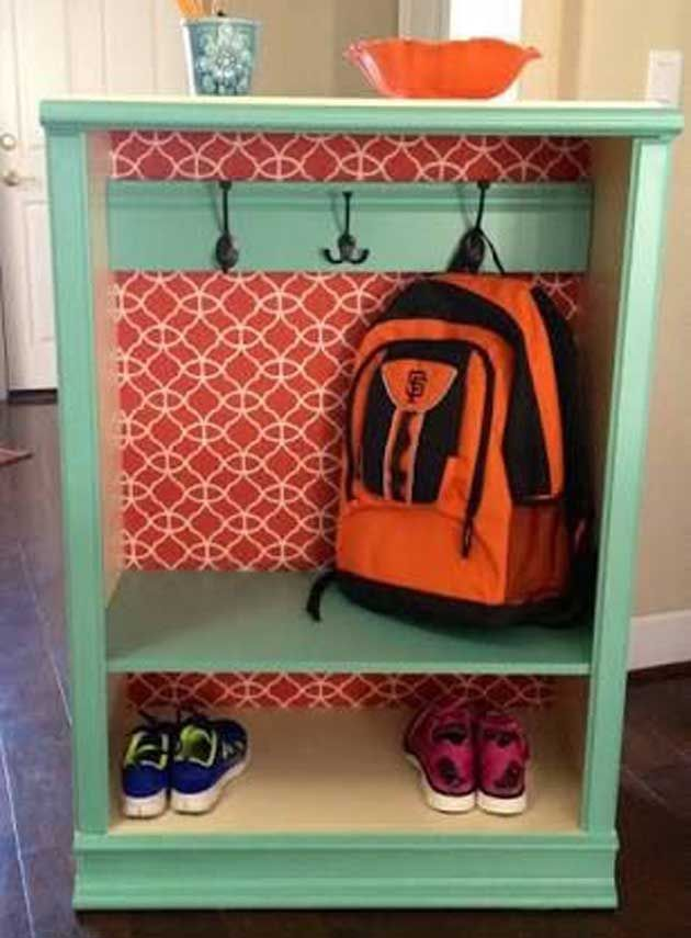 Old bookcase into backpack station. DIY #DIYMudroom #Upcycle #Kids #Organize #ClearClutter