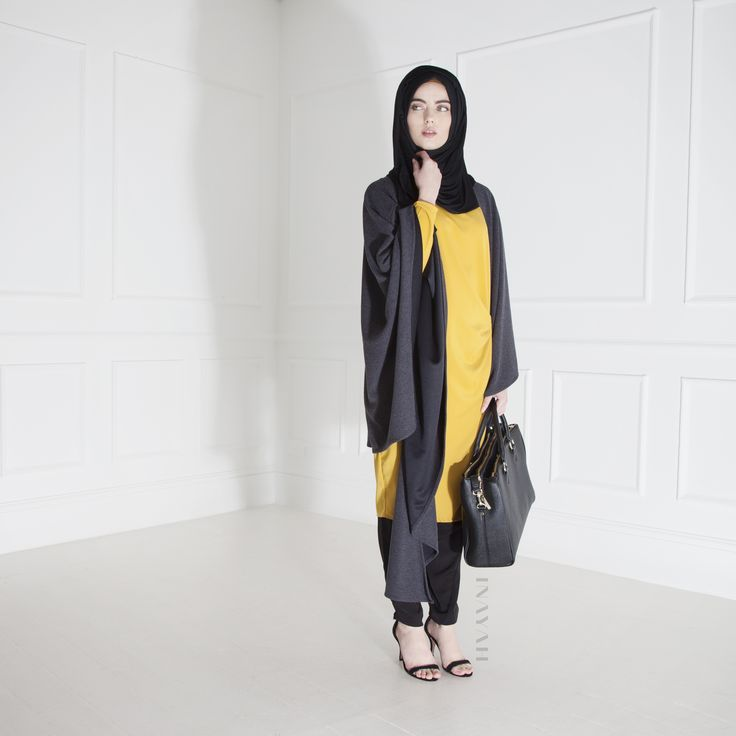 INAYAH | Knitted #Wrap + Yellow Knot Midi #Dress + Black Crossover #Trousers + Black Maxi Jersey #Hijab www.inayahcollection.com