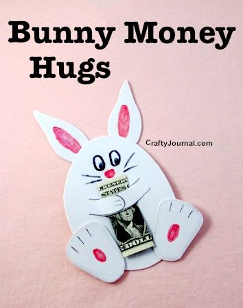 DIY Craft: This bunny money hugs craft was shared at Party in Your PJs link part on Grandma Ideas.