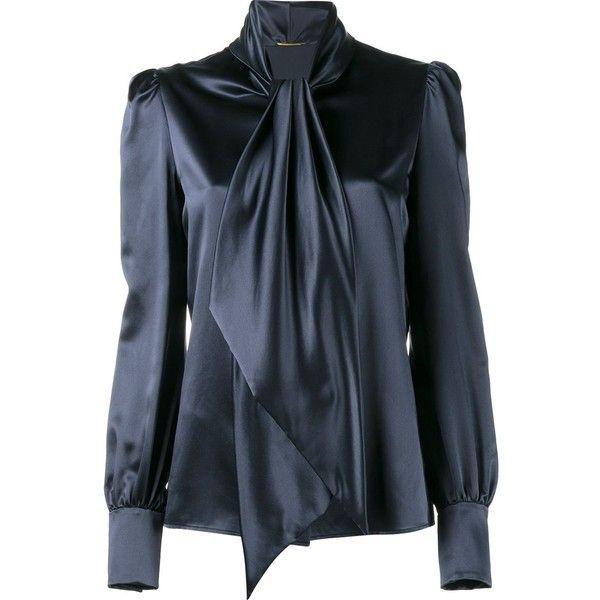 Saint Laurent neck-tie blouse found on Polyvore featuring tops, blouses, shirts, blue, neck-tie, blue blouse, fitted blouse, tie neck tie and blue necktie