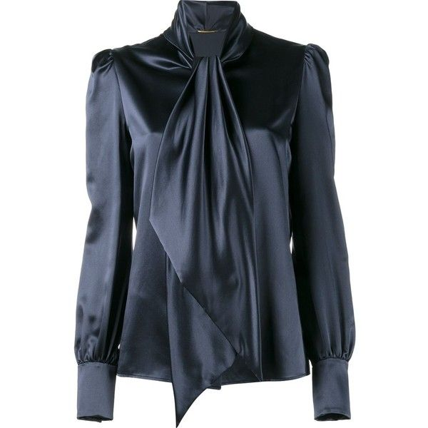 Saint Laurent neck-tie blouse found on Polyvore featuring tops, blouses, shirts, blue, neck-tie, blue blouse, fitted blouse, tie neck tie and blue necktie