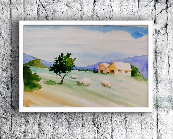 Watercolor Painting Of Blue Landscape Painting Of A Scenery Etsy