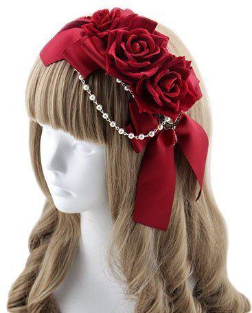 [レジーナ] LEGINA リボンと薔薇の カチューシャ型ヘッドドレス レッド 高品質 ゴシック・ゴスロリファッションに 女性用アクセサリー [CS-LE-0143]
