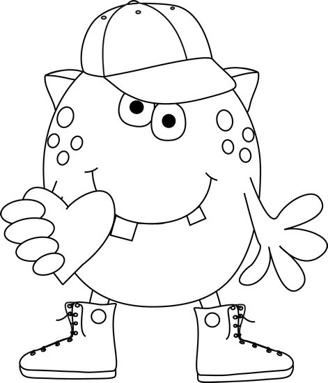 Black and White Boy Monster with Heart Clip Art - Black and White Boy Monster with Heart Image