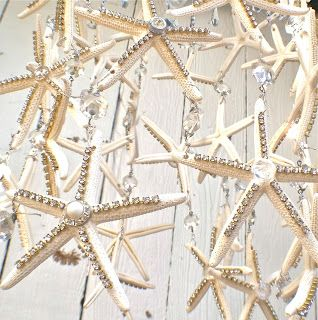 I wanted to create a light fixture that had all of the wow factor of a chandelier dripping with crystals but without the big price tag....I used 36 white starfish and about 10 yards of crystal chainand about 10 yards of rhinestone chain.If you would like to try making this project you can…