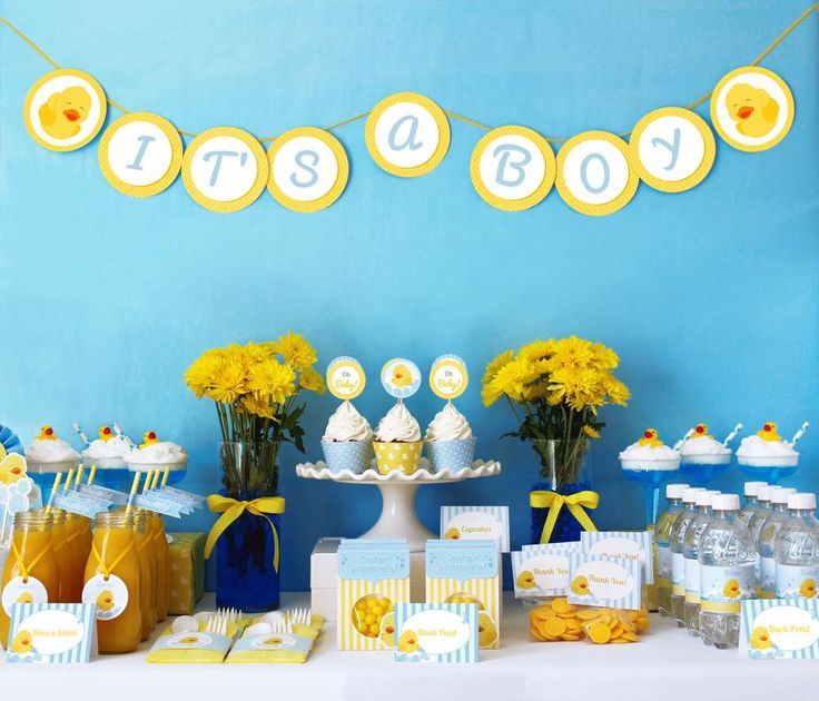 Rubber duckies baby shower party! See more party planning ideas at CatchMyParty.com!