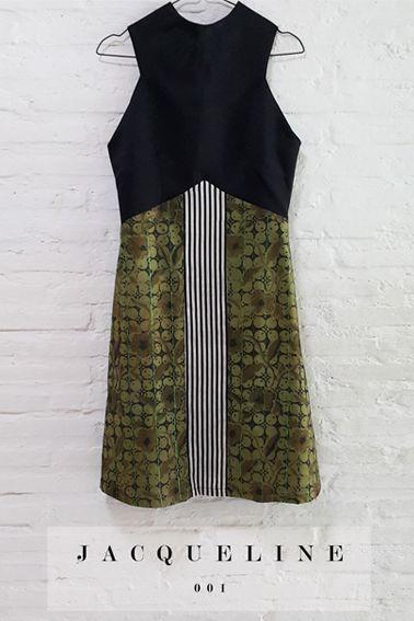 Jacqueline 001 IDR 750.000 Semi-Formal A-Line Skirt Batik Stripe Combination Dress  Length of Dress : 95 cm.  Material Used : (Top) Thick Satin. (Bottom) Batik Tulis, Cotton. Stripe, Cotton.  Standard Zipper Length (50-55cm) at the back