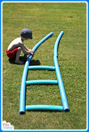 Outdoor Pool Noodle Train Tracks