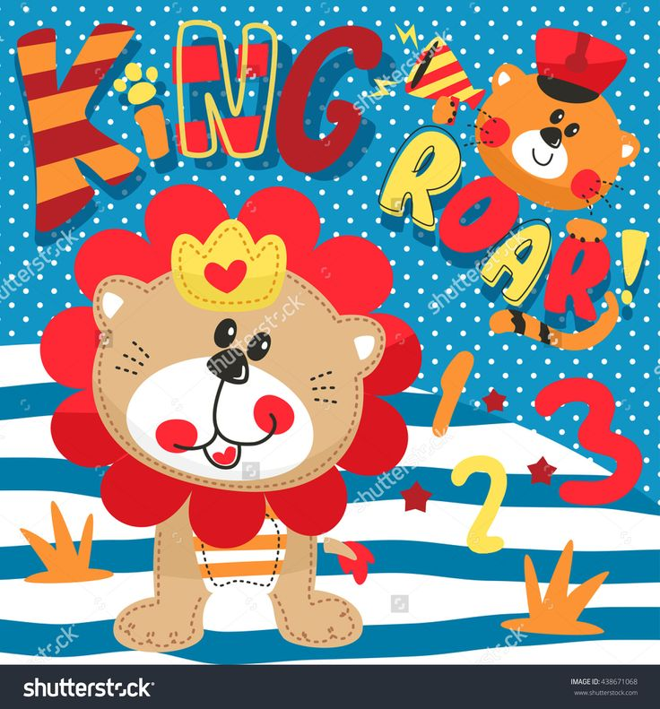Cartoon cute little lion wearing a crown and cute tiger on striped and polka dot background illustration vector.