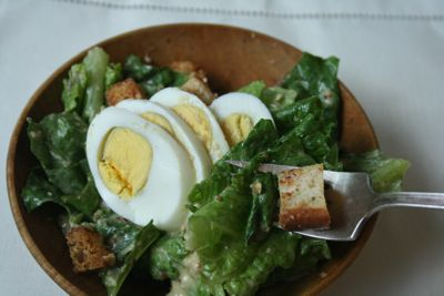 From-Scratch Caesar Salad Dressing recipe  1 egg  ½-1 teaspoon anchovy paste  1 tablespoon Worcestershire sauce  Juice of 1 lemon (4 tablespoons fresh lemon juice)  2 medium garlic cloves, crushed  1 tablespoon capers  1 tablespoon Dijon mustard  2/3 cup virgin olive oil  2/3 cup Parmesan cheese, grated
