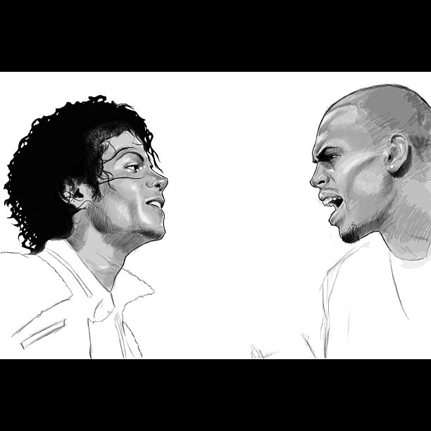 Such an amazing drawing of Michael Jackson and Chris Brown.