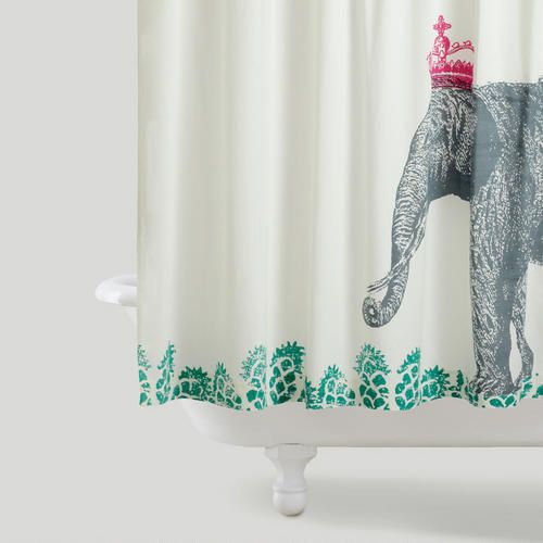 Delightful Cost Plus World Market Crowned Elephant Shower Curtain Is Made Of 100%  Cotton That Is
