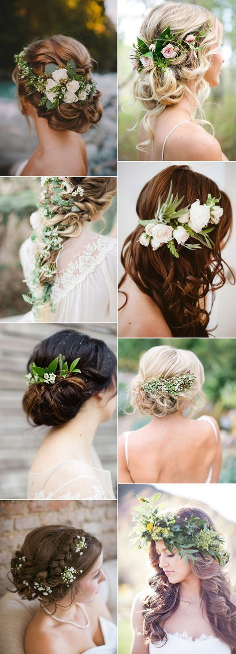 elegant wedding hairstyles accented with green floral for 2017