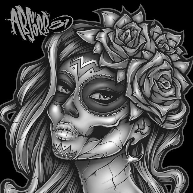 Found some time to work on the new #diadelosmuertos #design last night. Here she is so far. #art #absorb81 #illustration #skull #rose #flower #graffiti #tattoo #airbrush #photoshop #mangastudio #graphicdesign