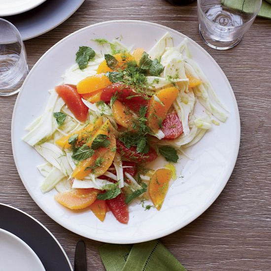 Fennel-and-Citrus Salad with Mint | For his light, simple salad, chef Matthew Accarrino mixes grapefruit and orange segments with shaved fennel and a sweet-tart honey-lemon dressing.