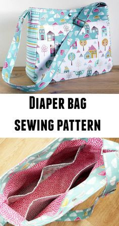 Petite street diaper bag sewing pattern. I made one of these diaper bags for my sister in law and it really does have room for everything she needs for her new baby.