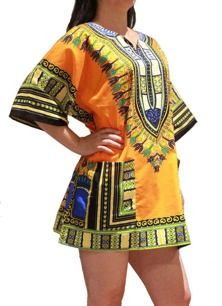African Dashiki Shirt - Orange - One Size Fit XS to XL