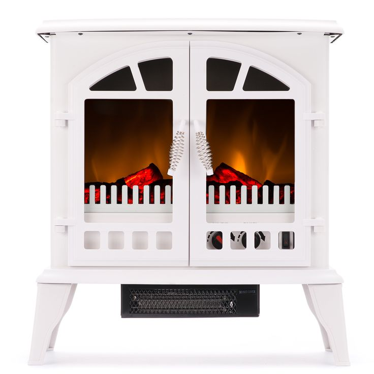 Jasper Free Standing Electric Fireplace Stove - 25 Inch White Portable Electric Vintage Fireplace with Realistic Fire and Logs. Adjustable 1500W 400 Square Feet Space Heater Fan