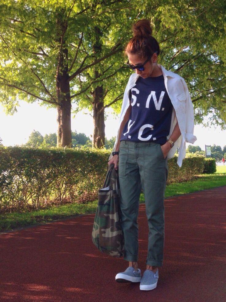 kayoさんのTシャツ/カットソー「SATURDAYS SURF NYC S.N.Y.C」を使ったコーディネート