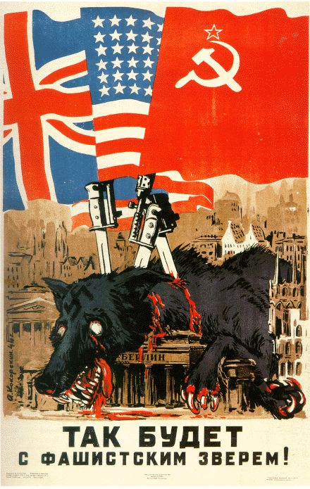 "Soviet WWII propaganda poster,""This [is] what will happen to a Fascist Beast!"""