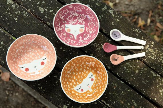 SET OF 3  Handmade ceramic bowls  colors of por MarinskiHeartmades