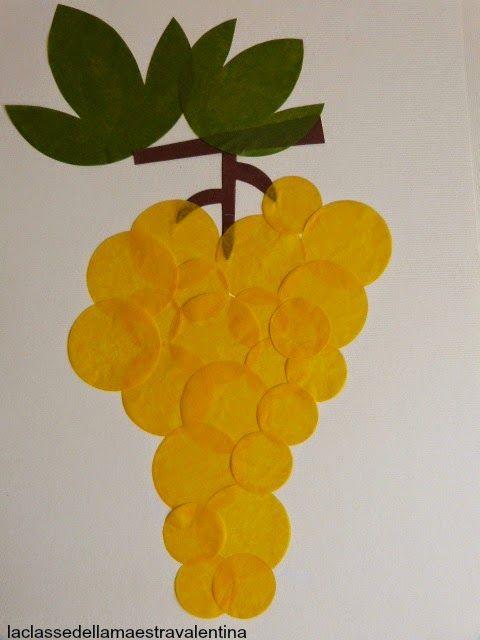 Care maestre, ancora carta velina per realizzare dei grappoli d'uva. I lavori che vi sto mostrando sono fatti da me...