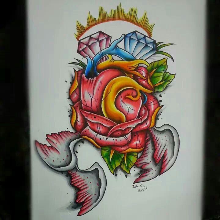 New school heart and rose tattoo flash | Artwork | Pinterest