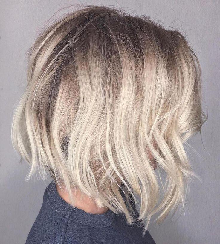 Messy Platinum Balayage Bob Haircut